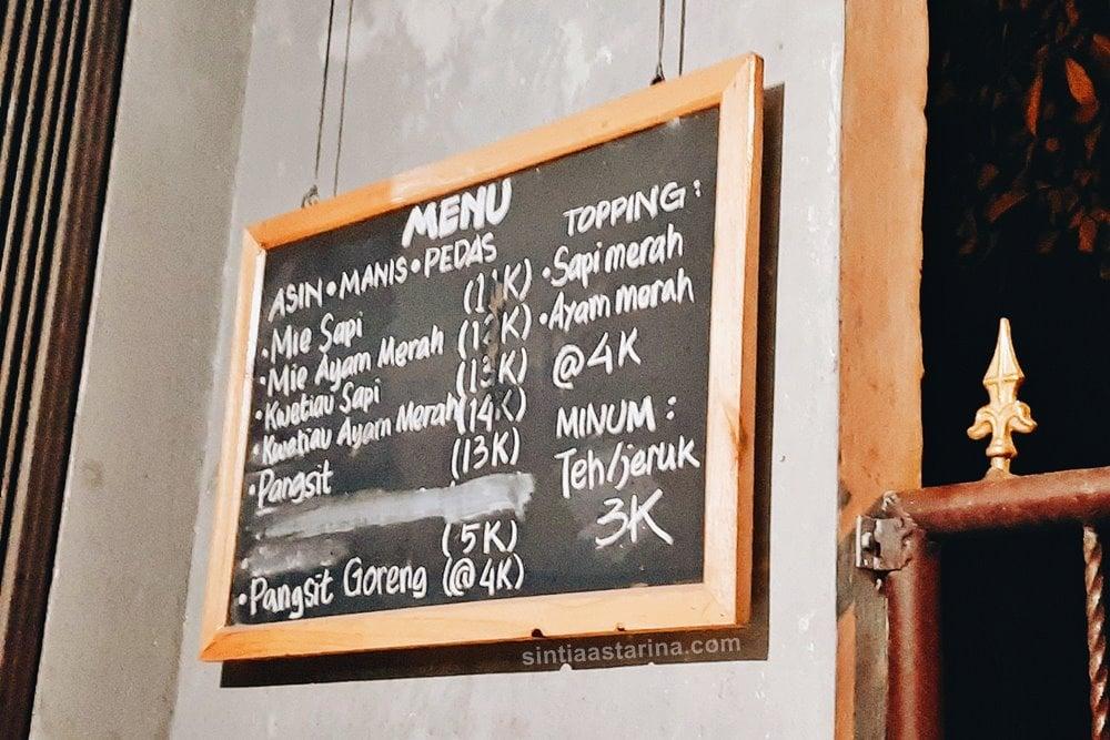 harga menu di Mie Sapi Banteng Jogja